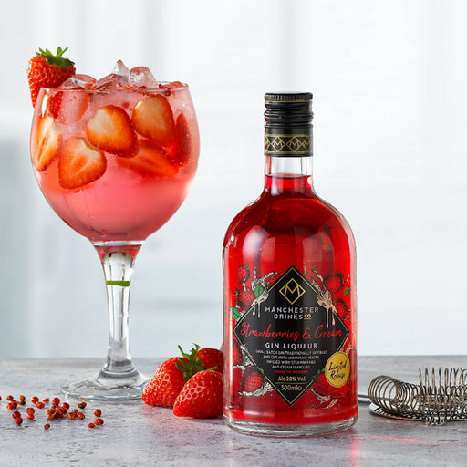 Manchester Drinks Co Strawberries & Cream Gin Liqueur 50cl 20% ABV