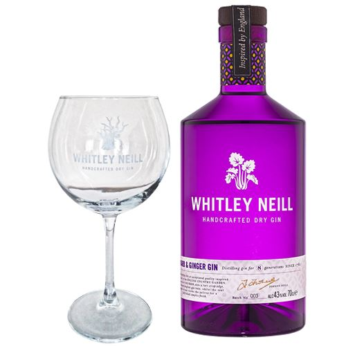 Whitley Neill Rhubarb and Ginger Gin 70cl with Branded Glass Gift 43% ABV