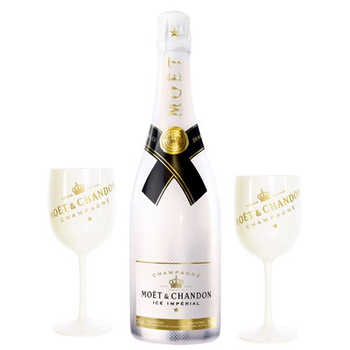 Moet and Chandon ICE Imperial Blanc NV 75cl with 2 Moet Ice White Champagne Goblets 75cl 12% ABV