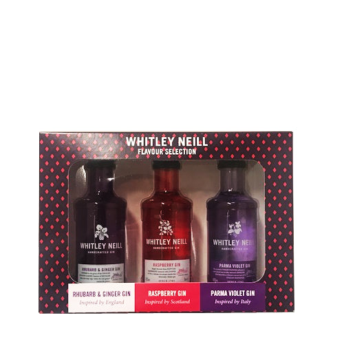 Whitley Neill Rhubarb/ Raspberry/ Violet Gin 3x5cl Gin Set