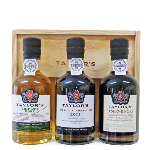 Taylors 3 x 20cl Port Mini Decanter Gift Pack (Chip Dry, Reserve, LBV) 20% ABV
