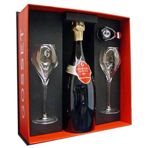 Gosset Grand Reserve Brut Two Flute & Champagne Stopper Gift Pack 75cl 12% ABV