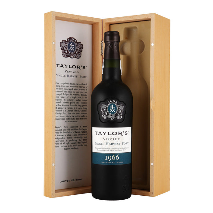 Taylors Very Old Single Harvest Vintage Port 1966 in Wooden Gift Box 75cl 20% ABV