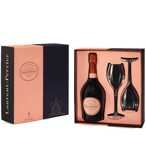 Laurent Perrier Rosé Champagne 75cl Two Glass Gift Set 12% ABV