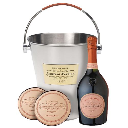 Laurent Perrier Rose Champagne 75cl With Ice Bucket & Coasters Gift