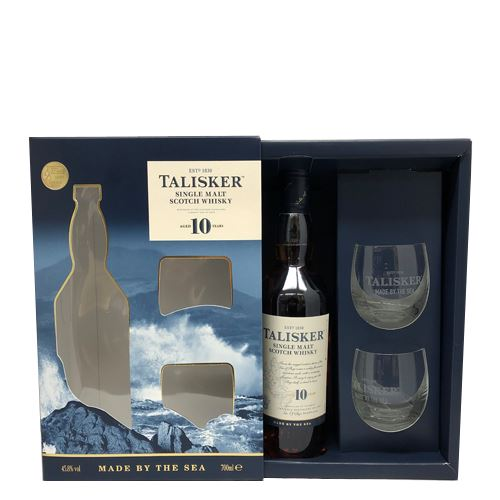Talisker 10yo Single Malt Whisky 70cl Gift Pack with 2 Glasses