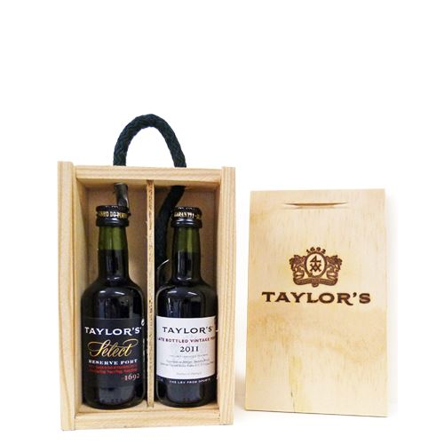 Taylors 2 x 5cl Port Miniatures Gift Set in wood (Select & LBV) 20% ABV