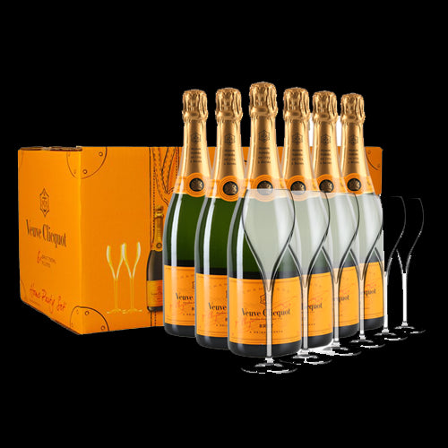 Veuve Clicquot Champagne Home Party Pack - 6 Bottles & 6 Glasses