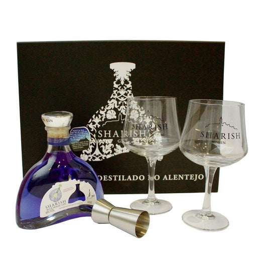 Sharish Blue Magic Gin Gift Set with Two Gin Glasses and Jigger