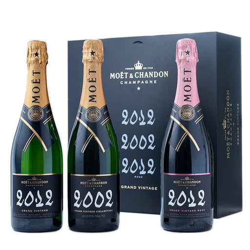 Moet & Chandon Grand Vintage Champagne Trilogy - 2002, 2012, 2012 Rose - 3 x 75cl