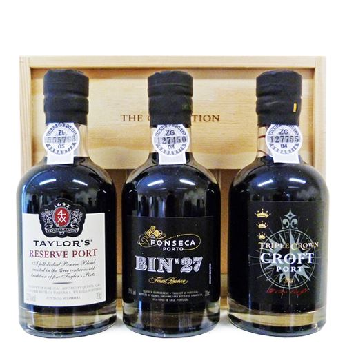 The Fladgate Collection 3 x 20cl Port Mini Decanter Gift Pack (Taylors Reserve, Fonseca Bin 27, Croft Triple Crown) 20% ABV