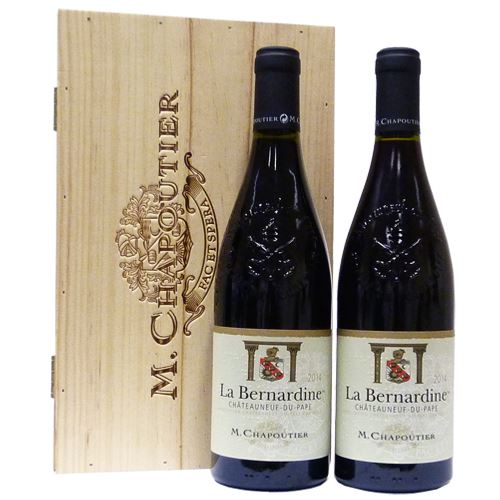 M. Chapoutier La Bernandine Chateauneuf-Du-Pape 2016 Duo Gift Set In Branded Wooden Box 2 x 75cl
