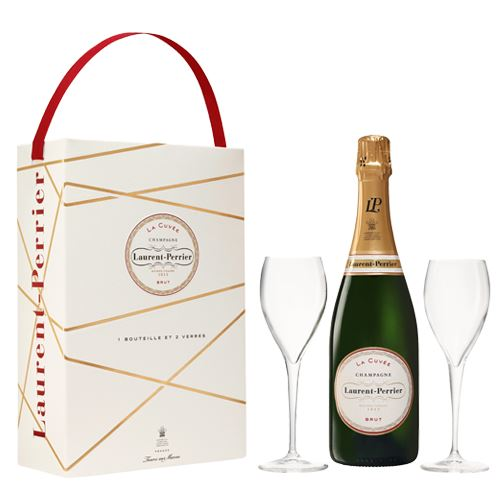 Laurent Perrier La Cuvee Brut Champagne 75cl Two Glass Gift Set 12% ABV