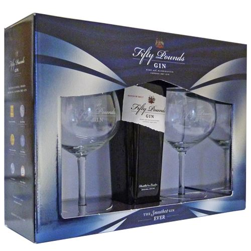 Fifty Pounds Rare and Handcrafted London Dry Gin 70cl with Two branded Fifty Pounds Gin Glasses in Gift Box 43.5% ABV