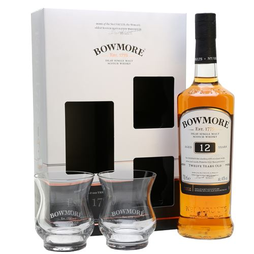 Bowmore 12 Year Old 70cl Two Glass Gift 40% ABV