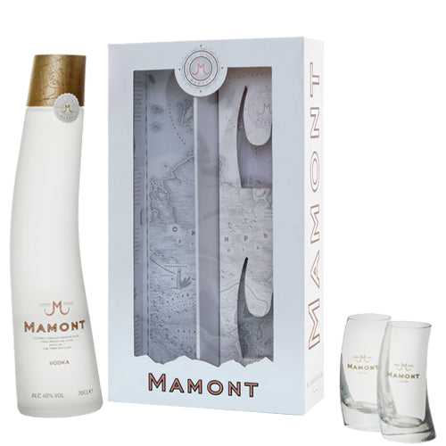 Mamont Vodka 70cl and Two Mamont Shot Glass Gift Pack