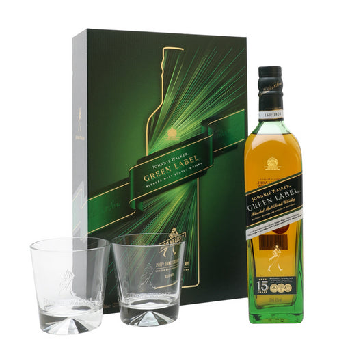 Johnnie Walker Green Label 15 Year Old Scotch Whisky 200th Anniversary 2 Glass Gift 70cl