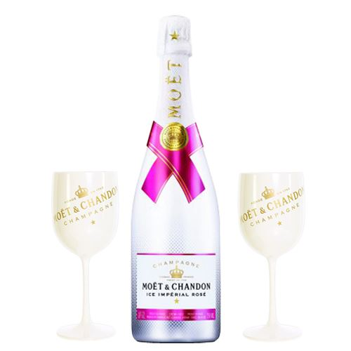 Moet and Chandon ICE Imperial Rosé NV 75cl with 2 Moet Ice White Champagne Goblets 12% ABV