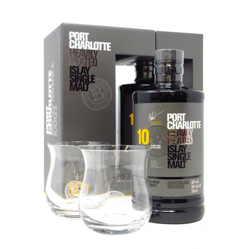 Octomore Port Charlotte 10 Year Old Single Malt Whisky 70cl with Two Glass Gift Pack 50%
