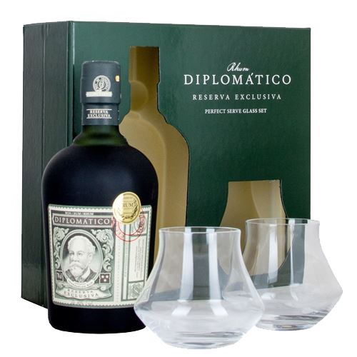 Diplomatico Reserva Exclusiva Rum 70cl with 2 Glasses Gift Set