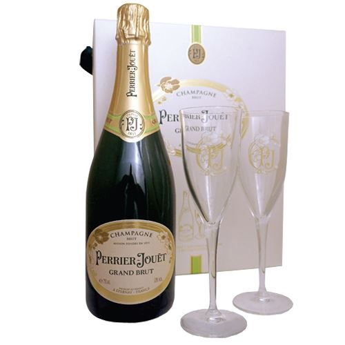 Perrier Jouet Grand Brut Champagne 75cl 2 Glass Gift Set