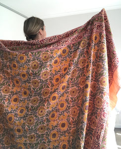 Sunflower Fields Kantha Quilt~ Peach