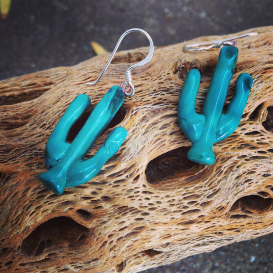 Throat Chakra Saguaro Earrings