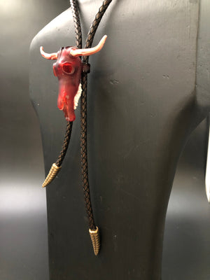 Red Rodeo Skull Bolo w/ Rattlesnake Tail Tie Ends