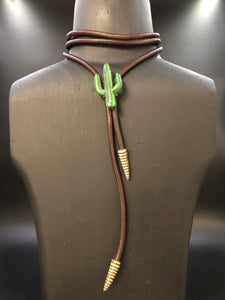 Classic Green Saguaro Bolo w/ Rattlesnake Tail Tie Ends