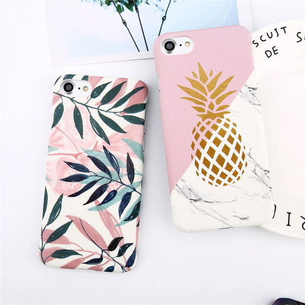 Gold Pineapple and Flower Leaf iPhone Case
