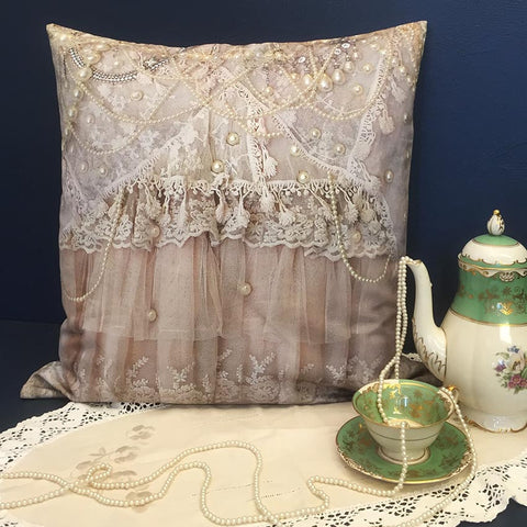 Vintage Pearls & Lace Printed Cushion Cover