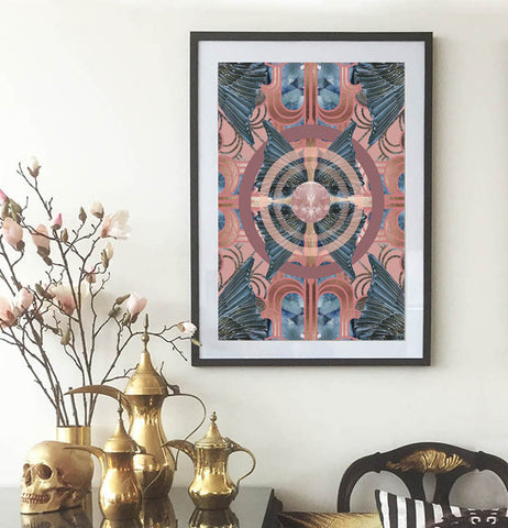 Limited Edition Safari Deco Blue Poster - Wall Art