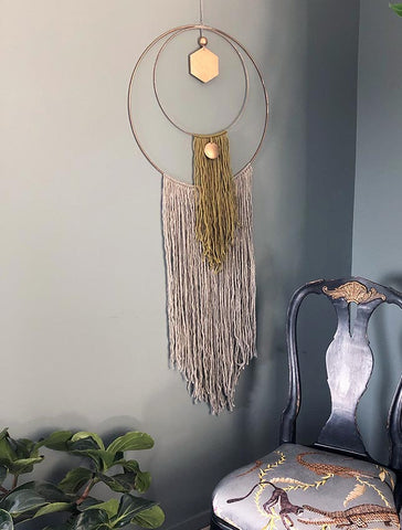 Hand Made Wall Hanging - Double Ring Green & Grey Tasseled Fringe