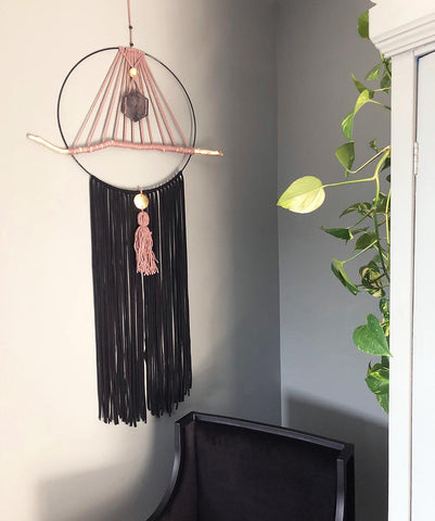 Hand Made Wall Hanging - Large Black Tassel with Gold Leaf Driftwood