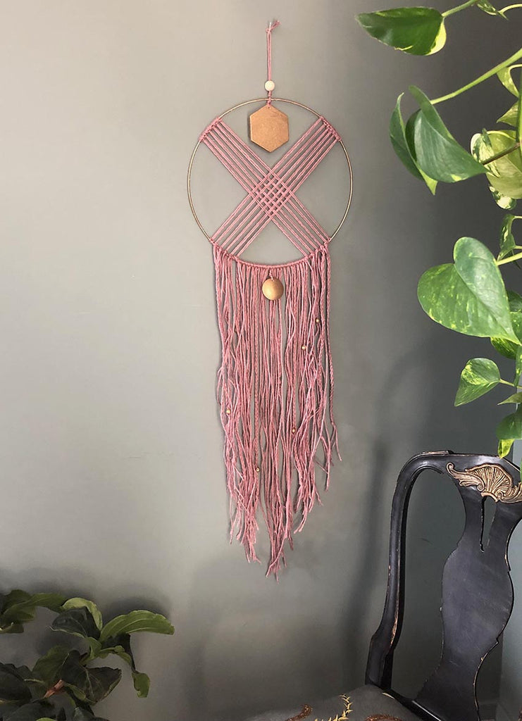 Hand Made Wall Hanging - Pink Yarn & Beaded Fringe