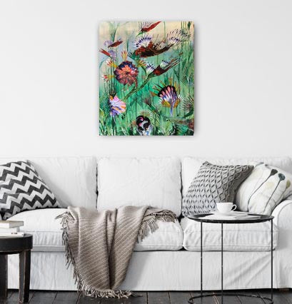 Petaled & Feathered - Acrylic Painting on Canvas