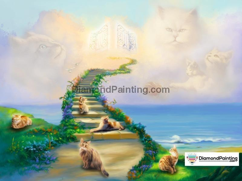 Ships From USA - All Cats Go To Heaven 50x40cm - DiamondPainting.com
