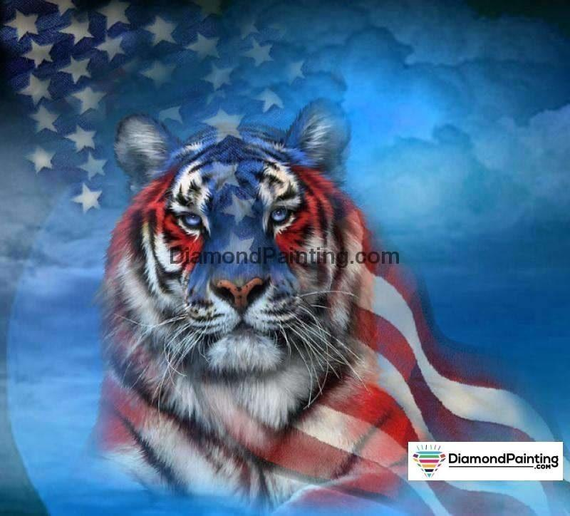 Ships From USA - American Tiger 40x40cm - DiamondPainting.com