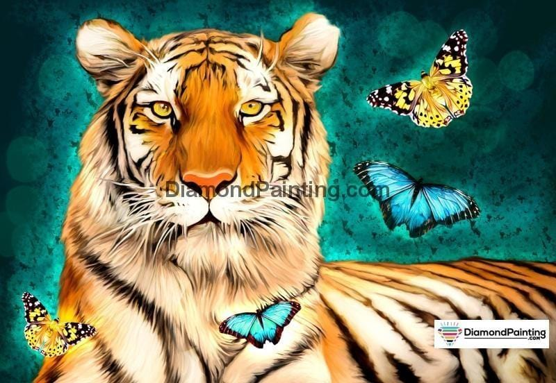Ships From USA - Beautiful Tiger and Butterflies 50x40cm - DiamondPainting.com