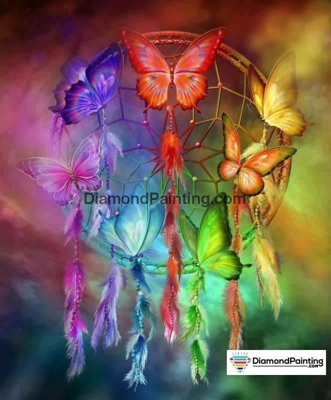 Ships From USA - Butterfly Rainbow Dream Catcher 40x60cm - DiamondPainting.com