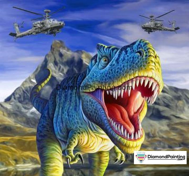 Ships from USA - Dinosaur T-Rex Attack 40x40cm - DiamondPainting.com