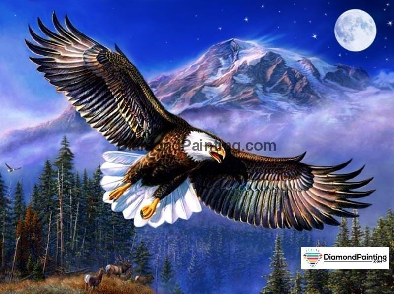 Ships From USA - Eagle Moon 60x40cm - DiamondPainting.com