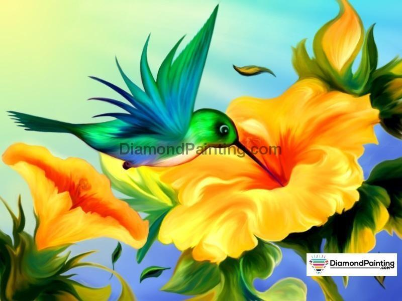 Ships From USA - Hummingbird Flower 30x20cm - DiamondPainting.com