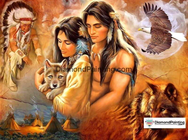 Ships From USA - Native American Couple 50x40cm - DiamondPainting.com