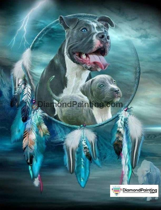 Ships From USA - Pit Bull Dream Catcher 50x40cm - DiamondPainting.com