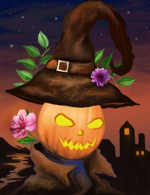 Ships From USA - Pumpkin Witch Hat Halloween 20x30cm - DiamondPainting.com