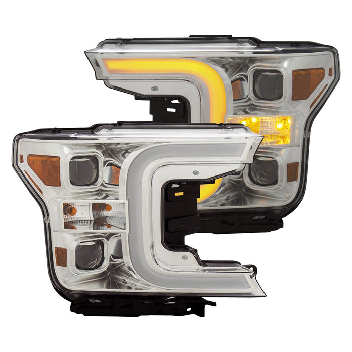 Anzo USA - 111399 - F150 Projector Headlights w/ Plank Style Switchback Chrome w/ Amber (18+)