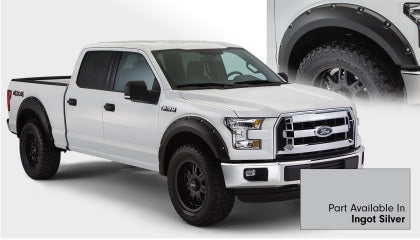 Bushwacker - 20935-52 - F-150 Pocket Style Fender Flares 4pc Front & Rear - Ingot Silver (15-17)