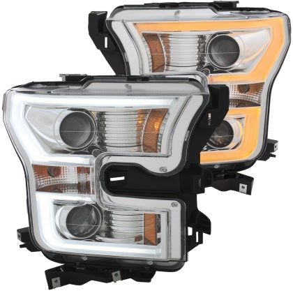 Anzo USA - 111358 - F150 Projector Headlights w/ Plank Style Switchback Chrome w/ Amber (15-17)