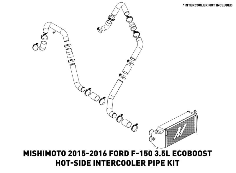 Mishimoto - MMICP-F35T-15HP - F150 Intercooler Pipe Kit - Hot Side - EcoBoost 3.5L (15-16)